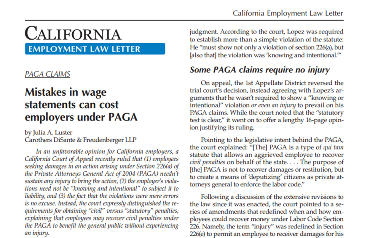 CDF Attorney Julia A Luster Authored The Article Mistakes In Wage Statements Can Cost Employers Under PAGA For California Employment Law Letters